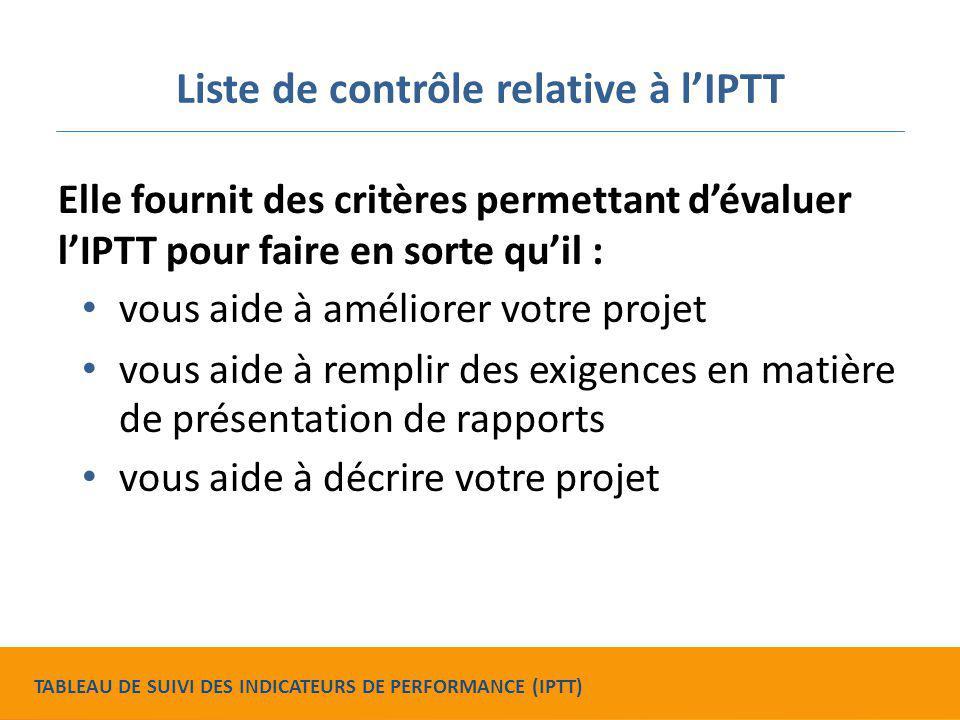 Liste de contrôle relative à l'IPTT