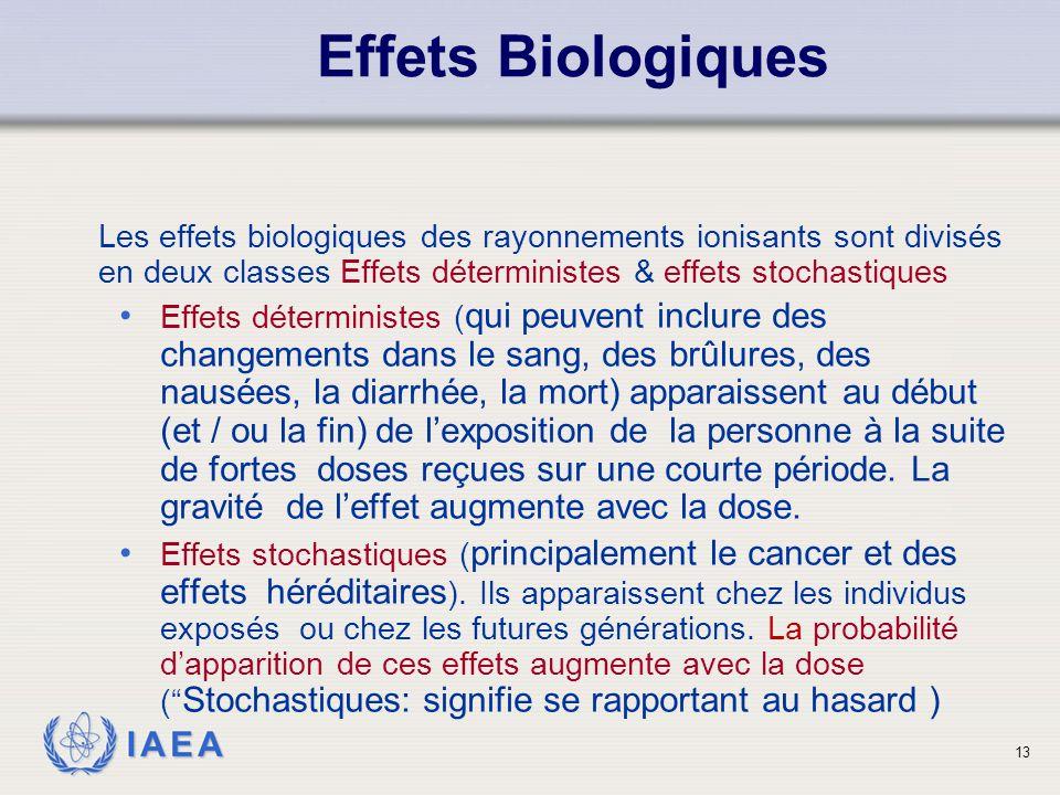 Effets Biologiques Les effets biologiques des rayonnements ionisants sont divisés en deux classes Effets déterministes & effets stochastiques.