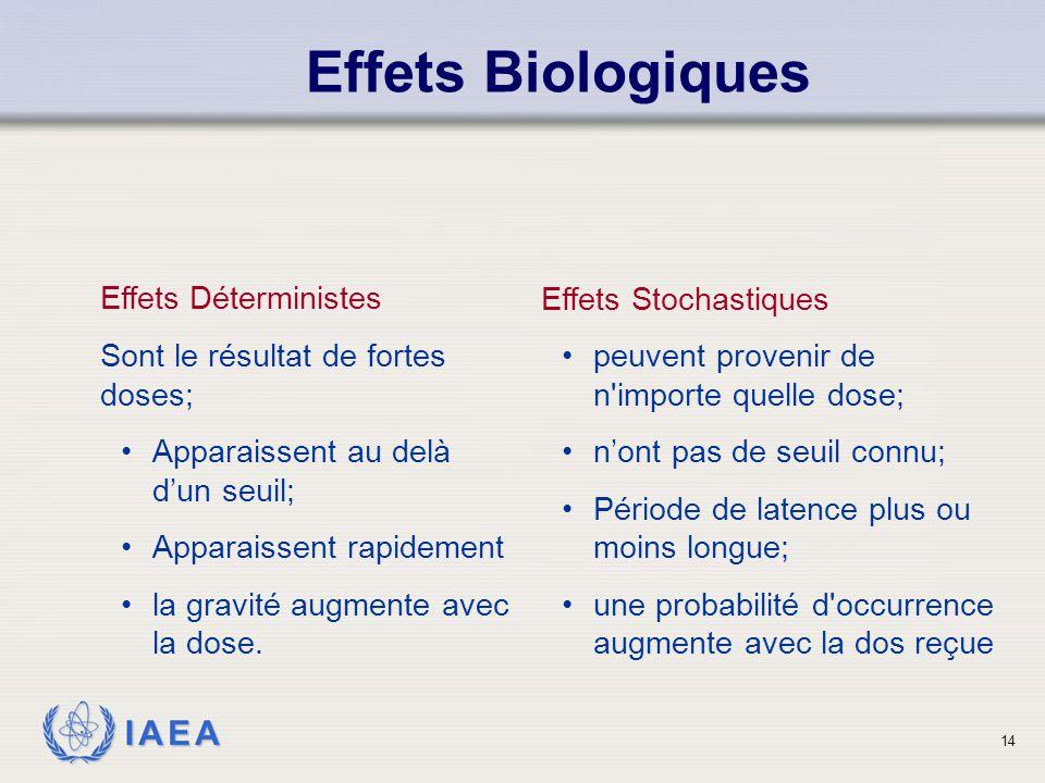 Effets Biologiques Effets Déterministes