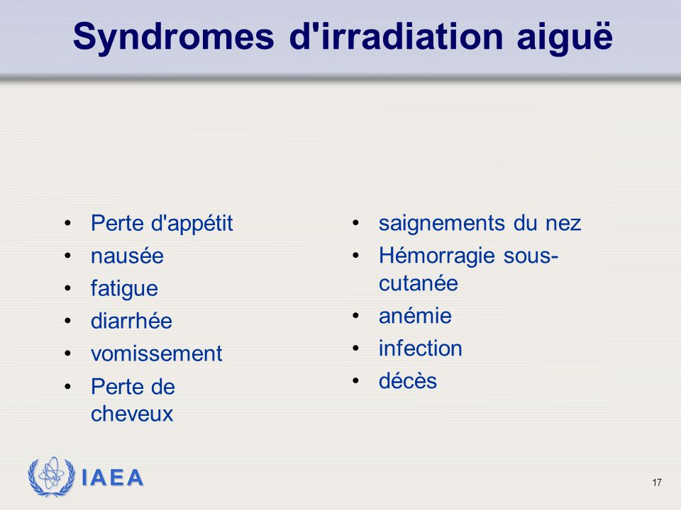Syndromes d irradiation aiguë
