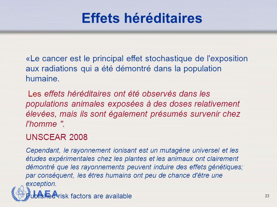 Effets héréditaires «Le cancer est le principal effet stochastique de l exposition aux radiations qui a été démontré dans la population humaine.