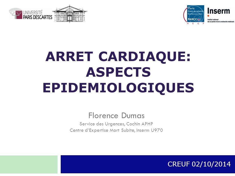 ARRET CARDIAQUE: ASPECTS EPIDEMIOLOGIQUES