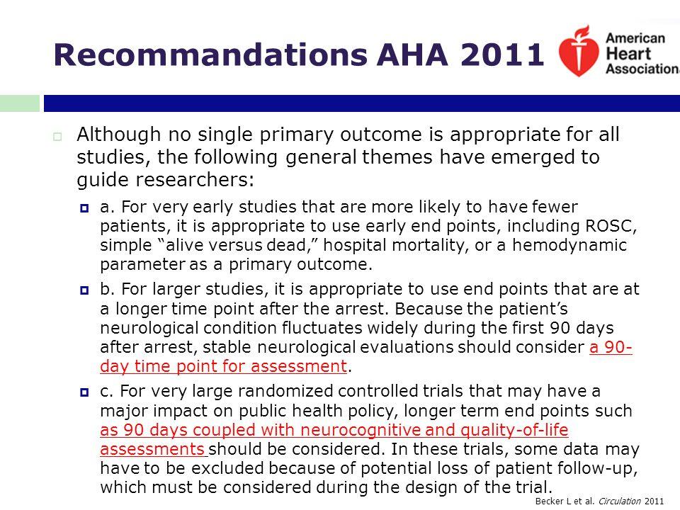 Recommandations AHA 2011