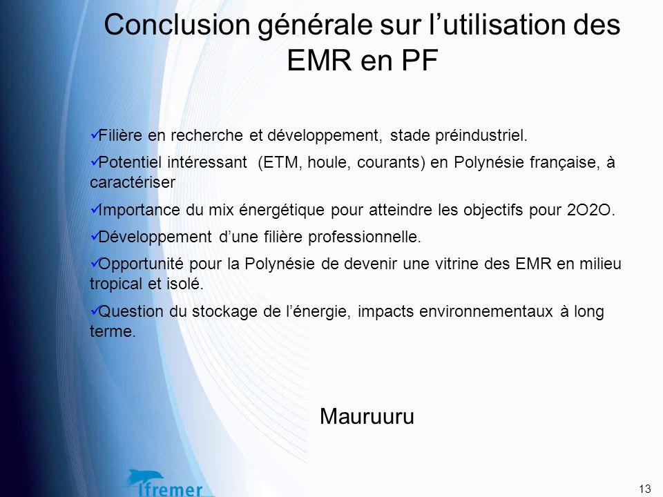 Conclusion générale sur l'utilisation des EMR en PF