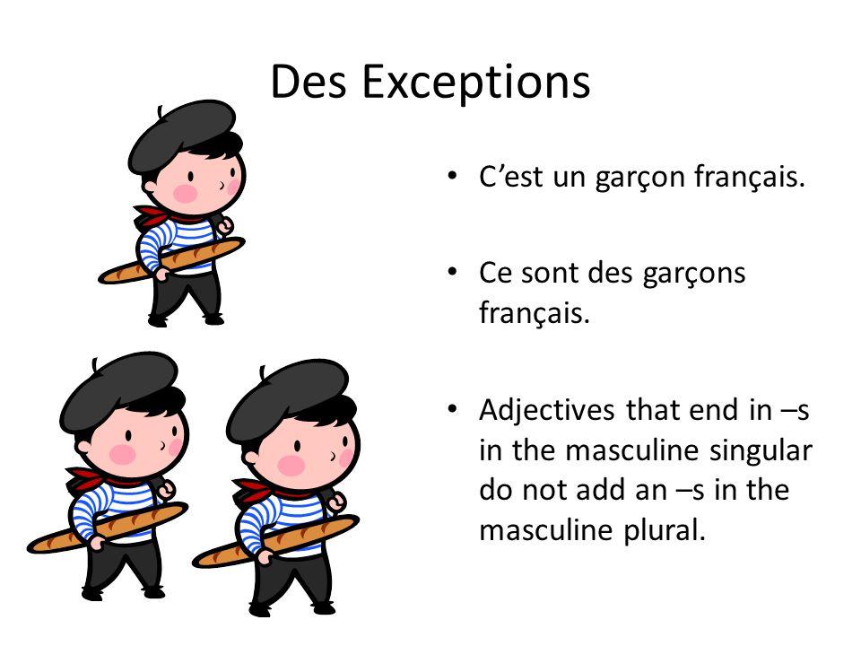 Des Exceptions C'est un garçon français. Ce sont des garçons français.
