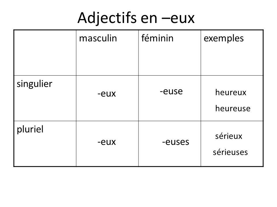 Adjectifs en –eux masculin féminin exemples singulier pluriel -euse