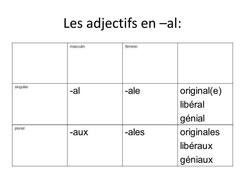 Les adjectifs en –al: -al -ale original(e) libéral génial -aux -ales