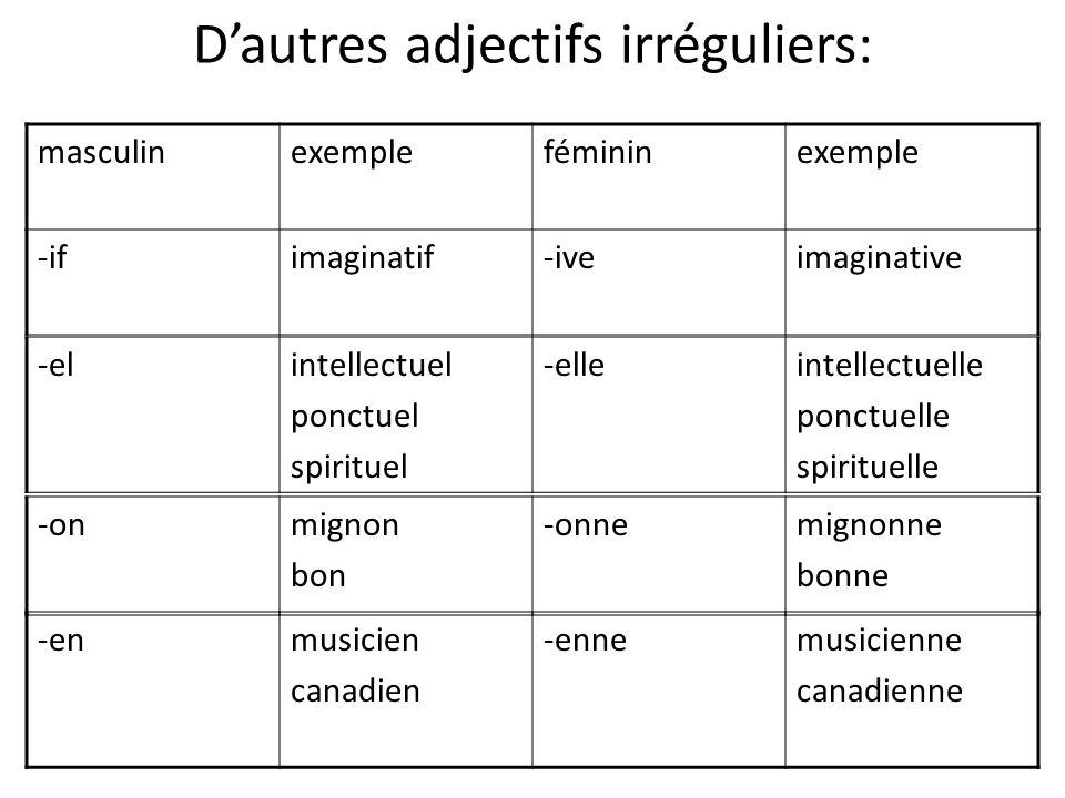 D'autres adjectifs irréguliers: