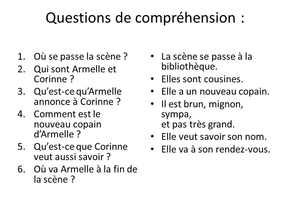Questions de compréhension :