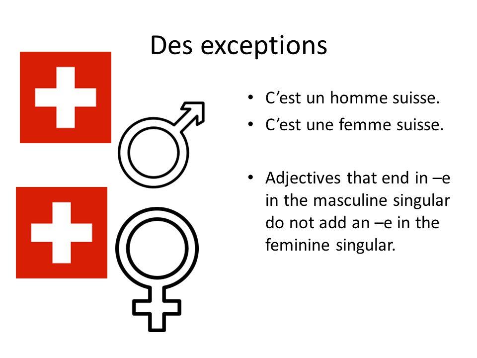 Des exceptions C'est un homme suisse. C'est une femme suisse.