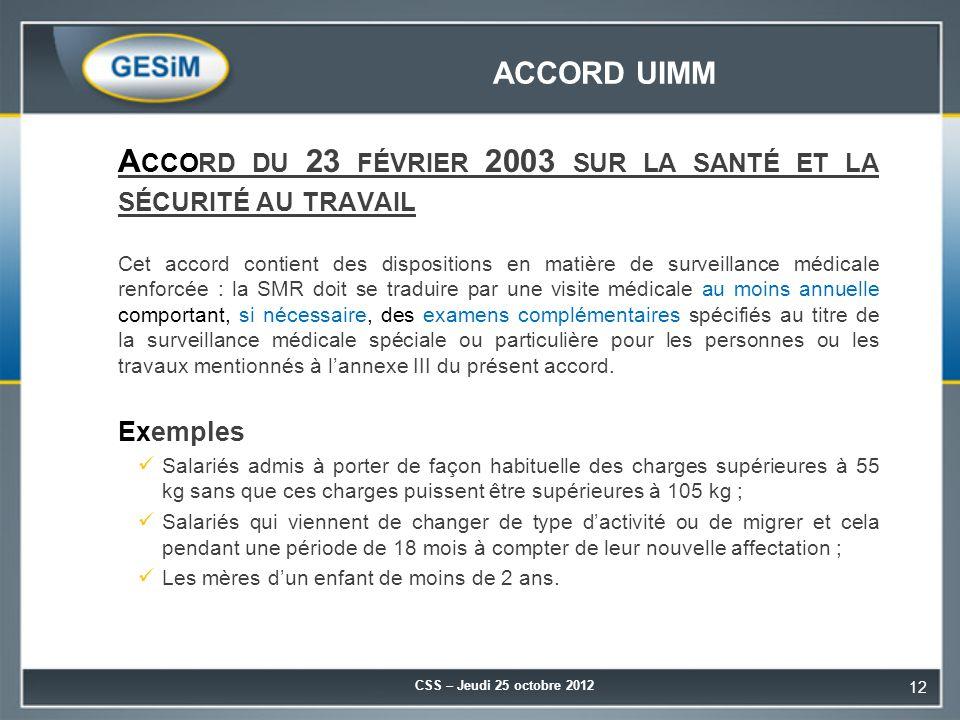 Accord du 23 février 2003 sur la santé et la sécurité au travail