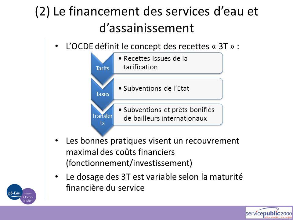 (2) Le financement des services d'eau et d'assainissement