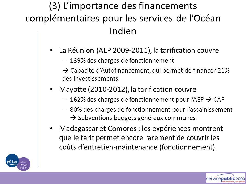 (3) L'importance des financements complémentaires pour les services de l'Océan Indien