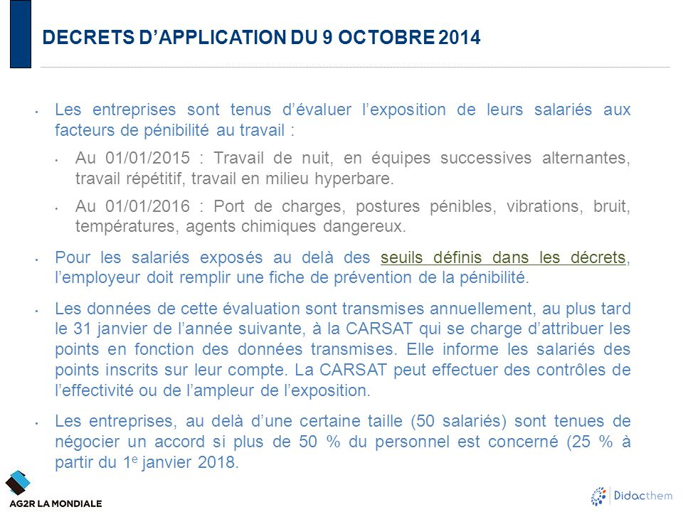 DECRETS D'APPLICATION DU 9 OCTOBRE 2014
