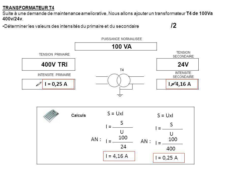 100 VA 400V TRI 24V  I = 0,25 A I = 4,16 A S = UxI S = UxI S S I =
