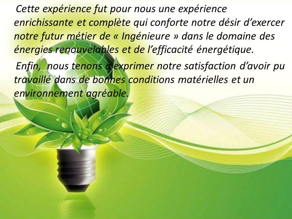 Cette expérience fut pour nous une expérience enrichissante et complète qui conforte notre désir d'exercer notre futur métier de « Ingénieure » dans le domaine des énergies renouvelables et de l'efficacité énergétique.