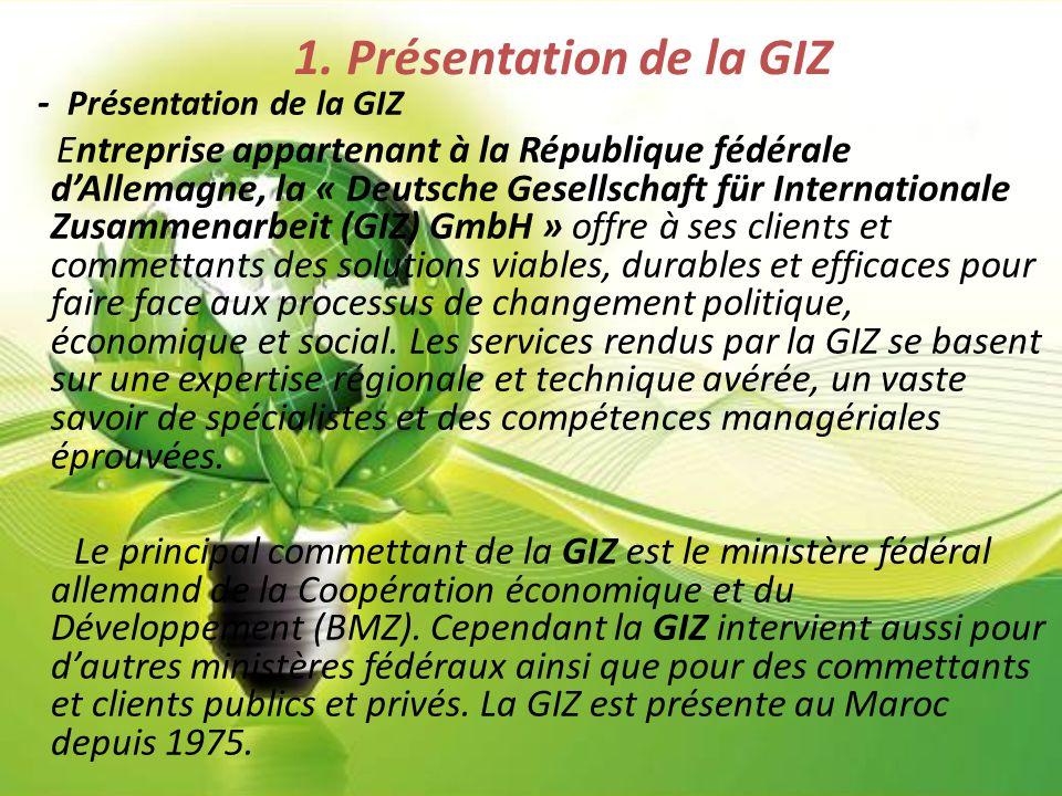 1. Présentation de la GIZ - Présentation de la GIZ