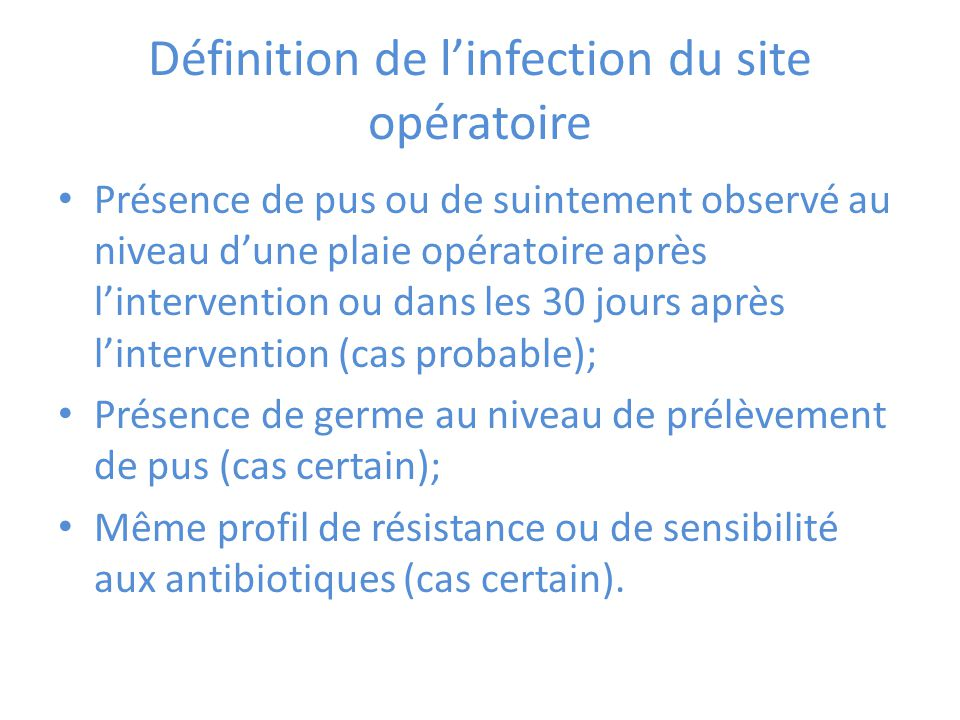 Définition de l'infection du site opératoire