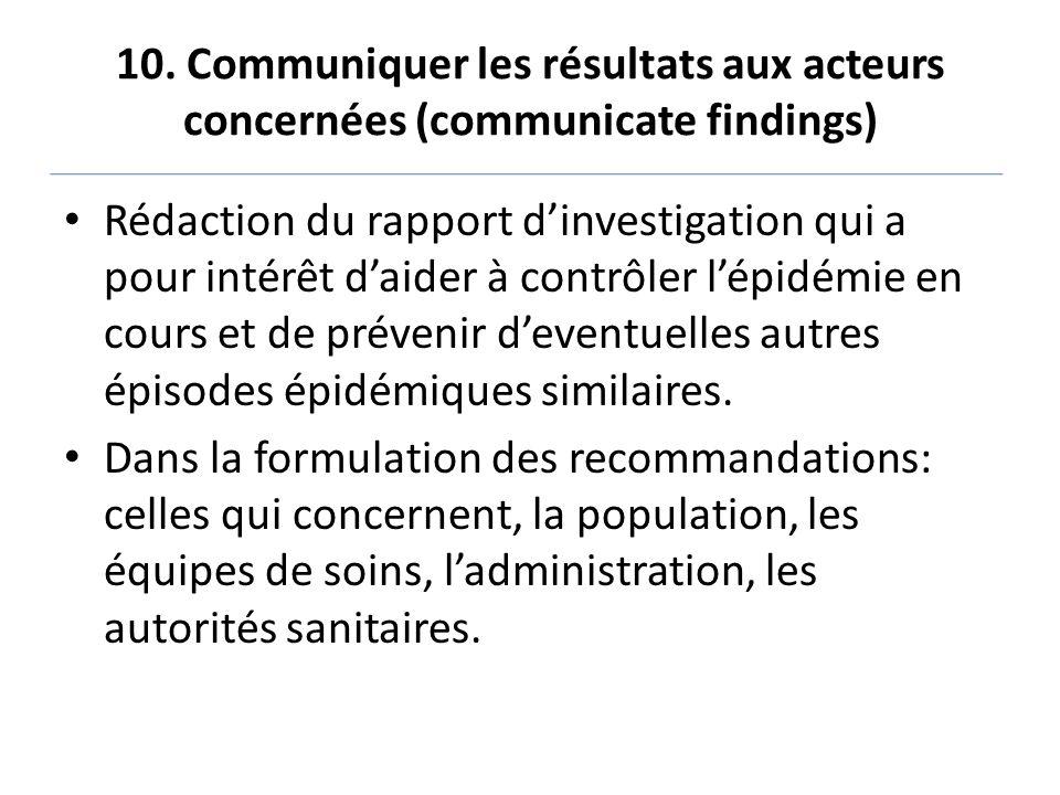 10. Communiquer les résultats aux acteurs concernées (communicate findings)