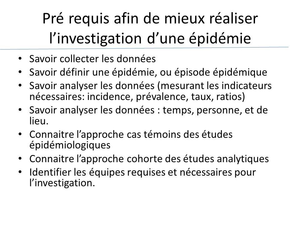 Pré requis afin de mieux réaliser l'investigation d'une épidémie