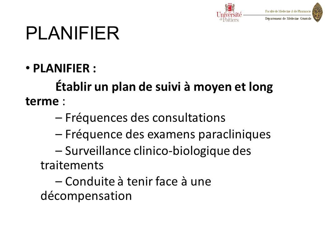 PLANIFIER PLANIFIER : Établir un plan de suivi à moyen et long terme :