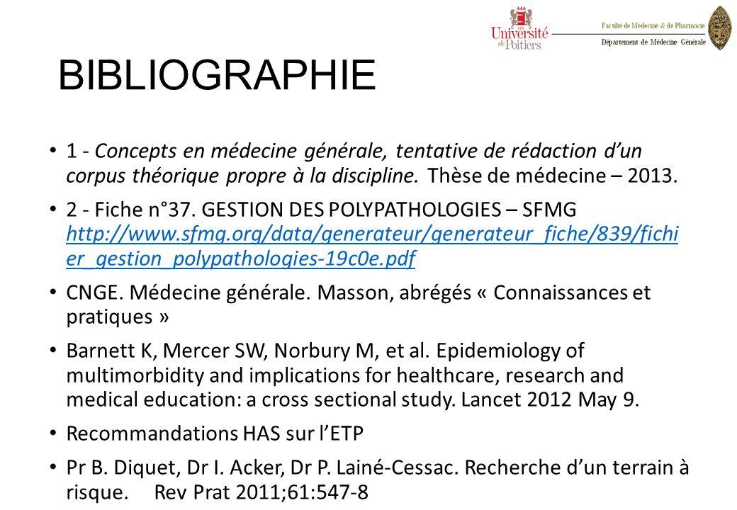 BIBLIOGRAPHIE 1 - Concepts en médecine générale, tentative de rédaction d'un corpus théorique propre à la discipline. Thèse de médecine – 2013.