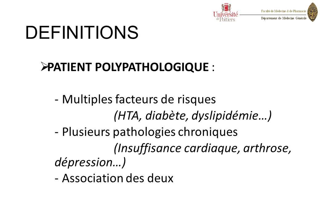 DEFINITIONS PATIENT POLYPATHOLOGIQUE : Multiples facteurs de risques