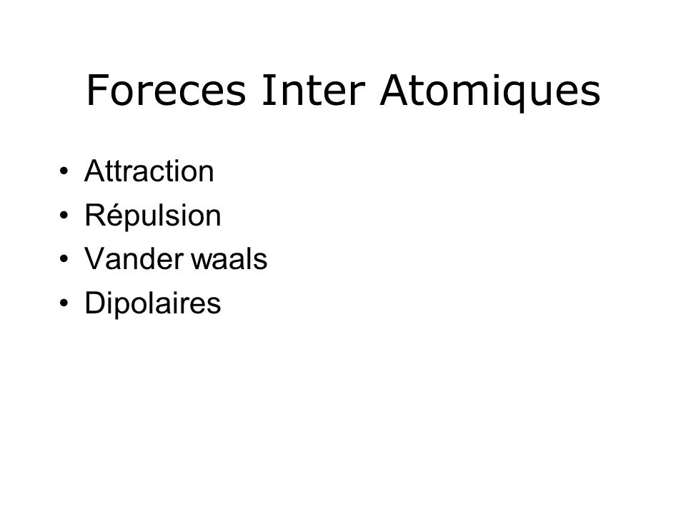 Foreces Inter Atomiques