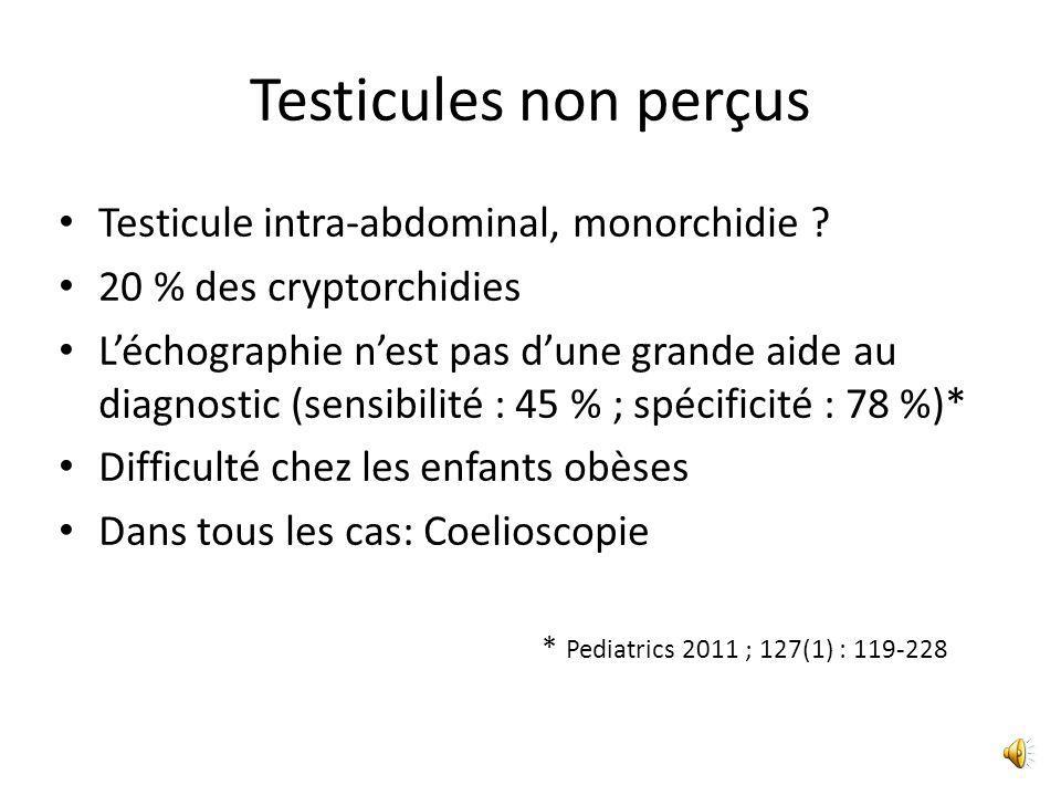 Testicules non perçus Testicule intra-abdominal, monorchidie
