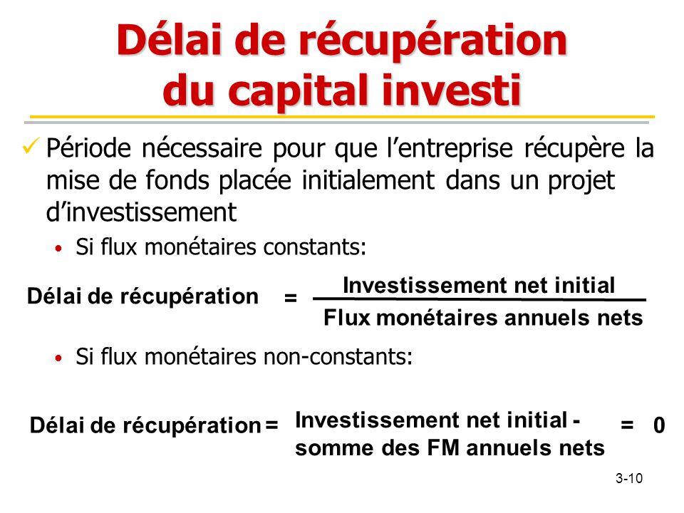 Délai de récupération du capital investi