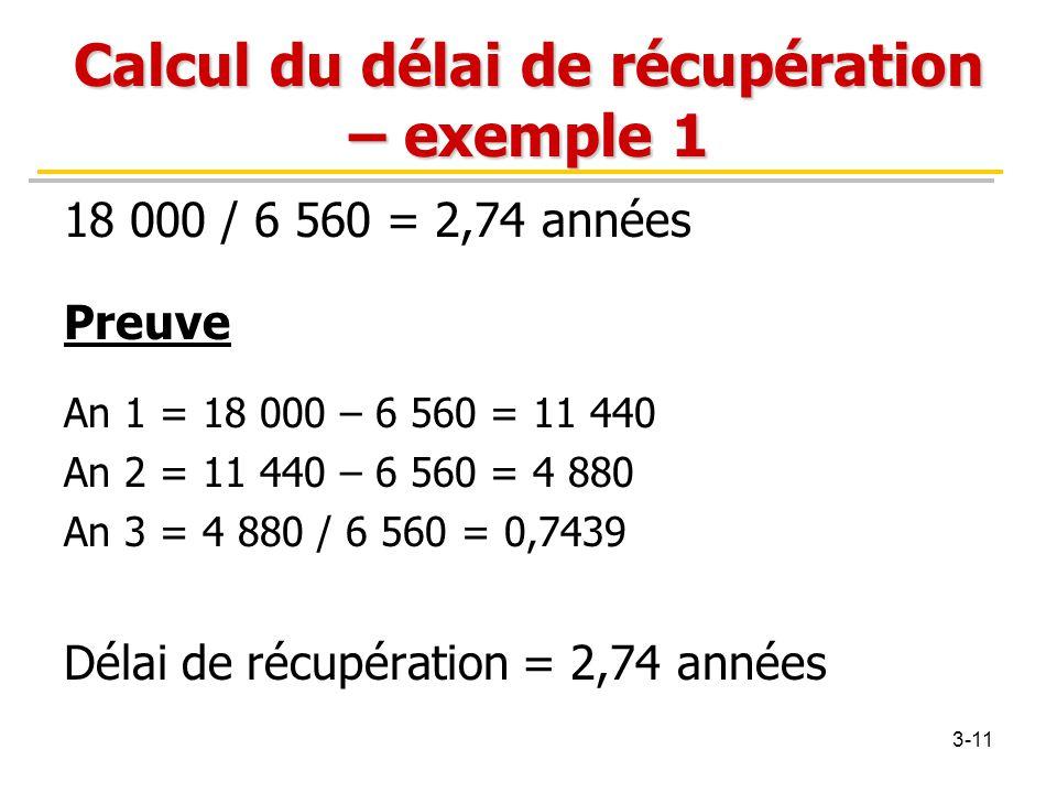 Calcul du délai de récupération – exemple 1