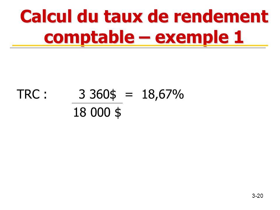 Calcul du taux de rendement comptable – exemple 1