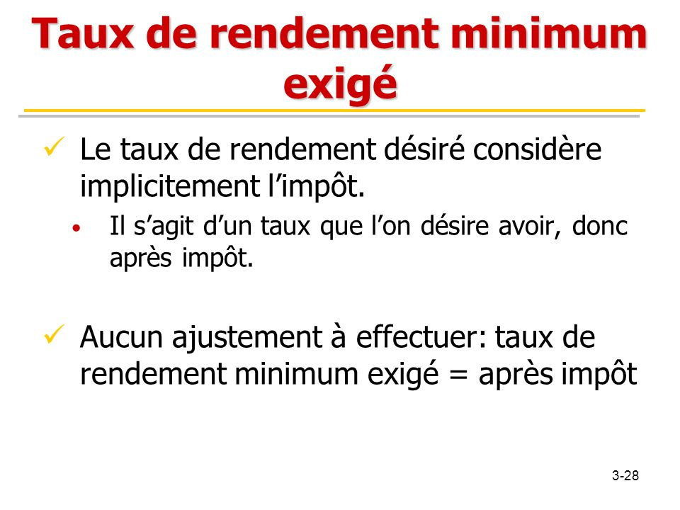 Taux de rendement minimum exigé