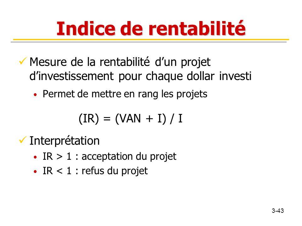 Indice de rentabilité Mesure de la rentabilité d'un projet d'investissement pour chaque dollar investi.