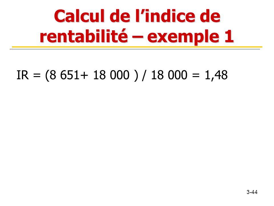 Calcul de l'indice de rentabilité – exemple 1