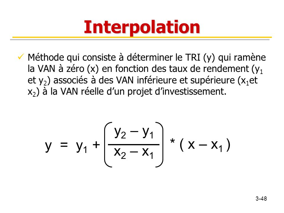 Interpolation y2 – y1 x2 – x1 * ( x – x1 ) y = y1 +