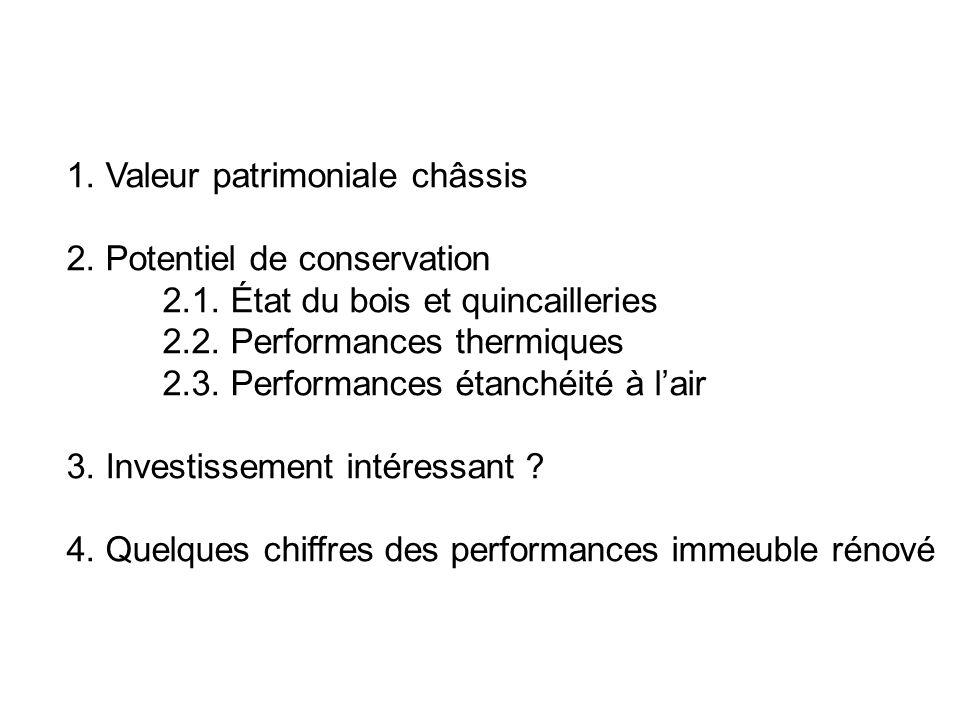 1. Valeur patrimoniale châssis 2. Potentiel de conservation