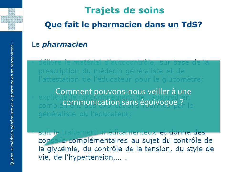Que fait le pharmacien dans un TdS