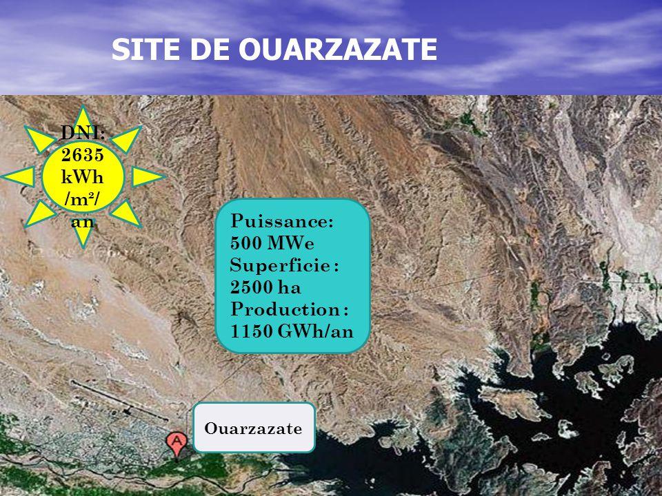 SITE DE OUARZAZATE DNI: 2635 kWh/m²/an Puissance: 500 MWe