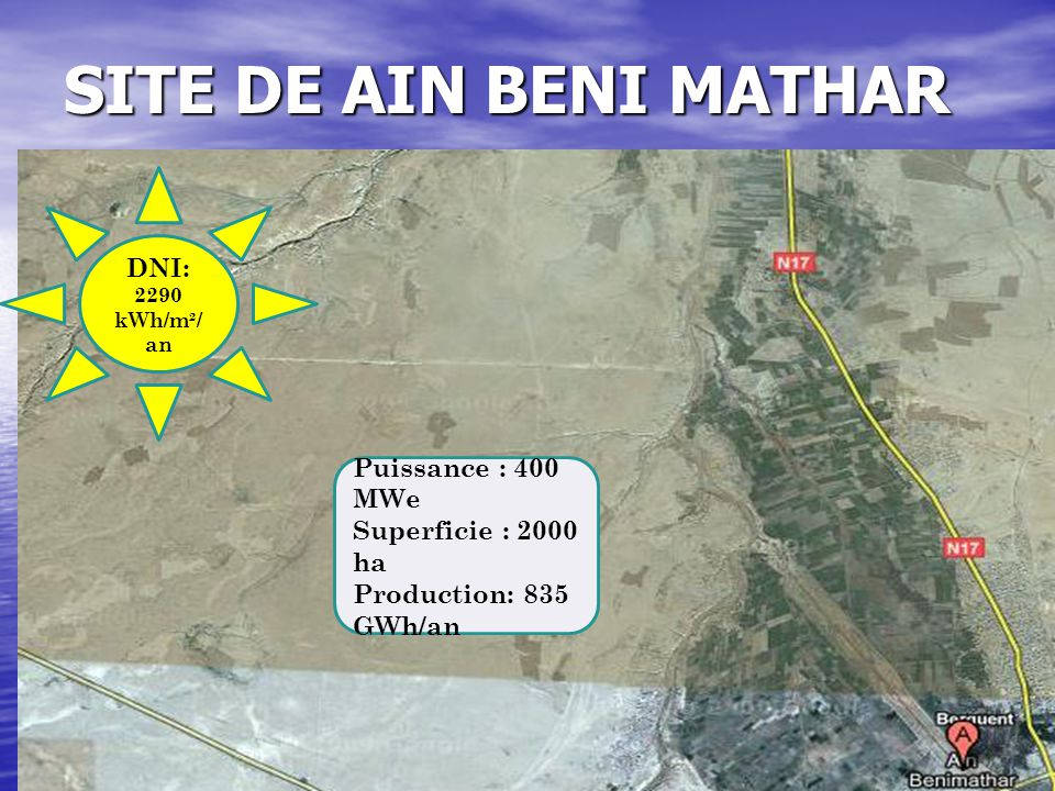 SITE DE AIN BENI MATHAR DNI: Puissance : 400 MWe Superficie : 2000 ha