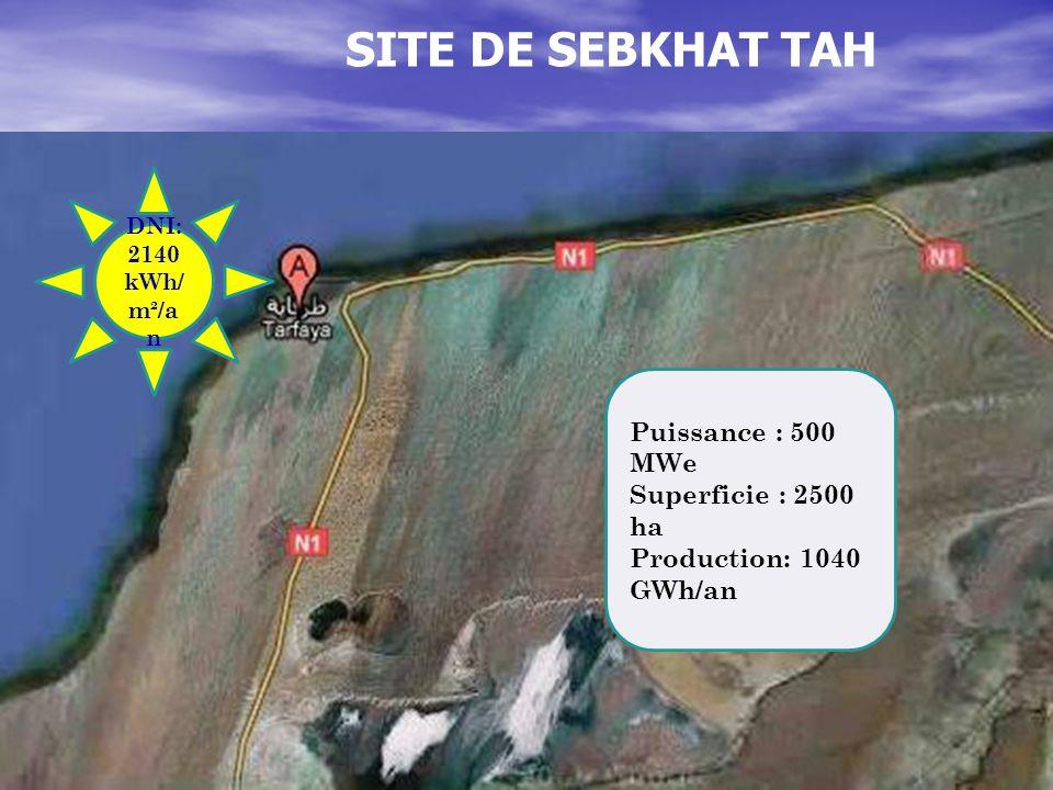 SITE DE SEBKHAT TAH Puissance : 500 MWe Superficie : 2500 ha