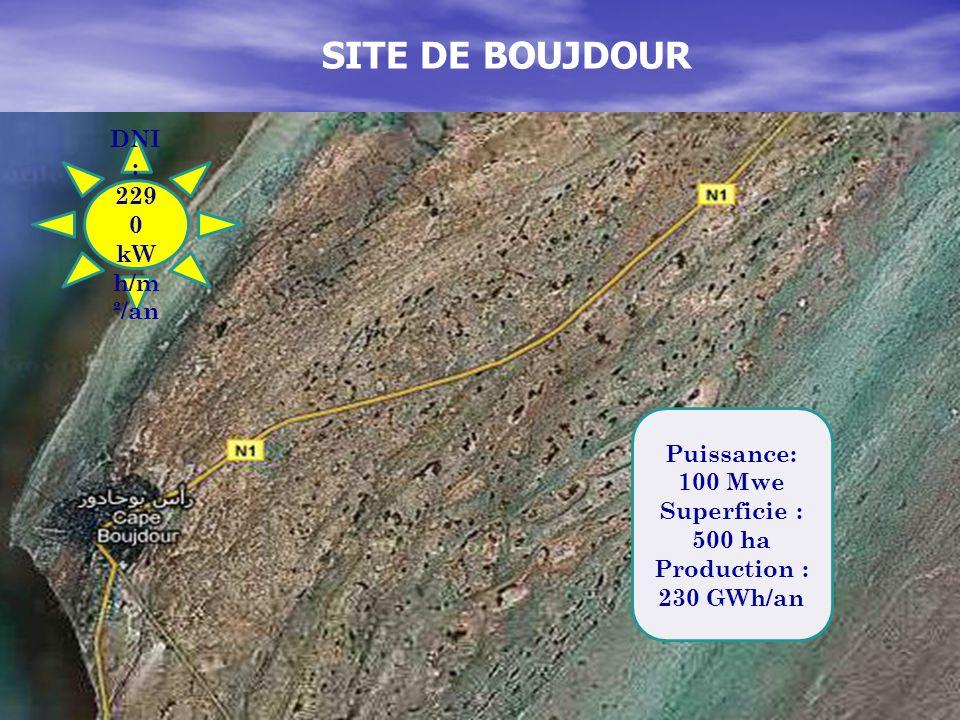 SITE DE BOUJDOUR DNI: 2290 kWh/m²/an Puissance: 100 Mwe