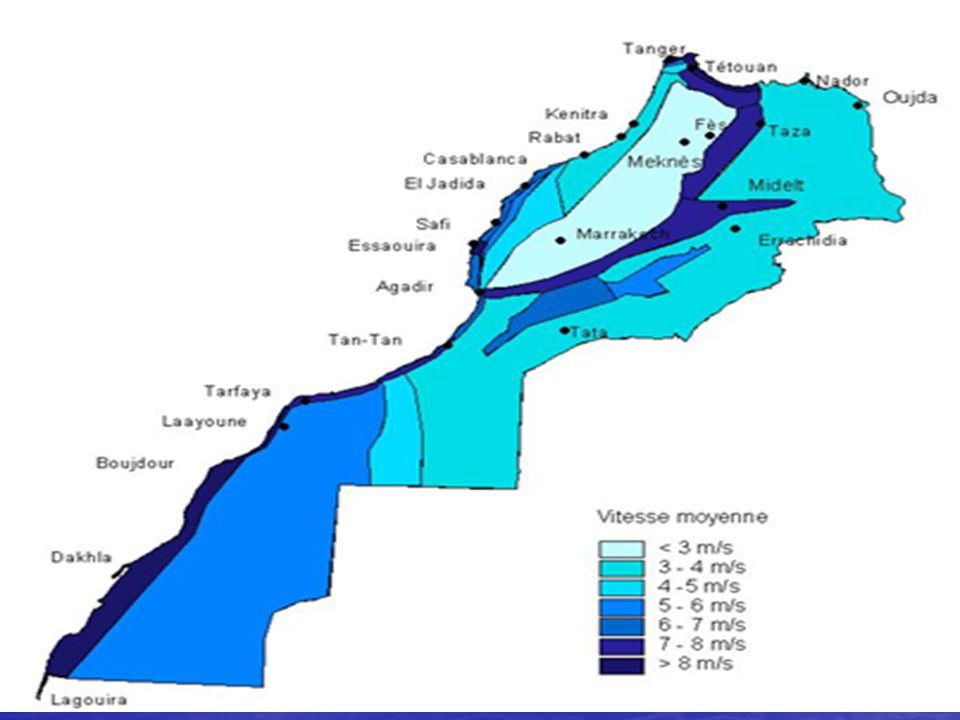 Les régions les plus ventées du Maroc se situent à l'extrême Nord dans la région de Tanger -Tétouan, la région d'Essaouira, La zone atlantique sud de Tarfaya à Lagouira et le couloir de Taza entre les chaînes montagneuses de l'Atlas et du Rif.