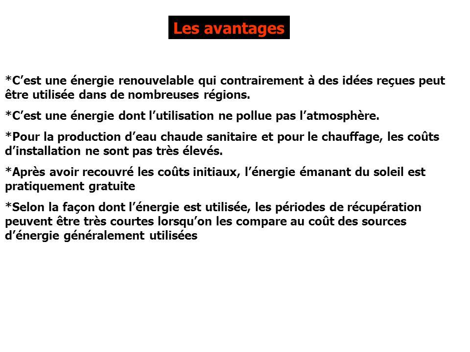 Les avantages *C'est une énergie renouvelable qui contrairement à des idées reçues peut être utilisée dans de nombreuses régions.