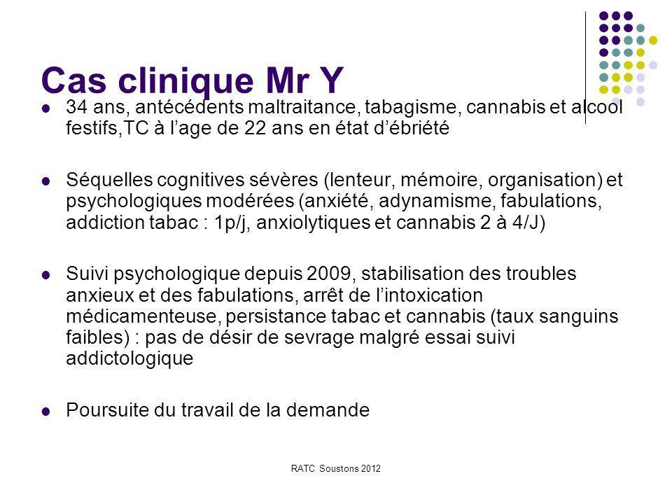 Cas clinique Mr Y 34 ans, antécédents maltraitance, tabagisme, cannabis et alcool festifs,TC à l'age de 22 ans en état d'ébriété.