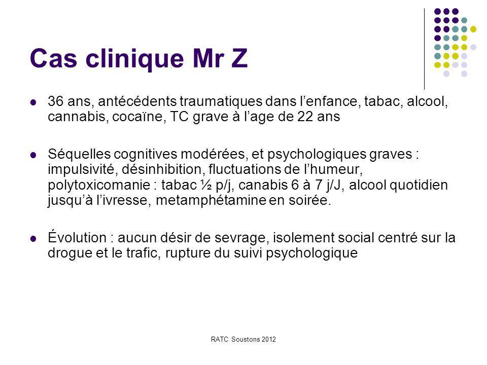 Cas clinique Mr Z 36 ans, antécédents traumatiques dans l'enfance, tabac, alcool, cannabis, cocaïne, TC grave à l'age de 22 ans.