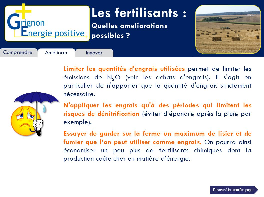 Les fertilisants : Quelles ameliorations possibles