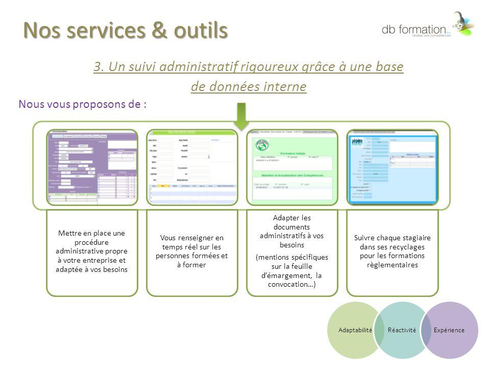 Nos services & outils 3. Un suivi administratif rigoureux grâce à une base. de données interne. Nous vous proposons de :