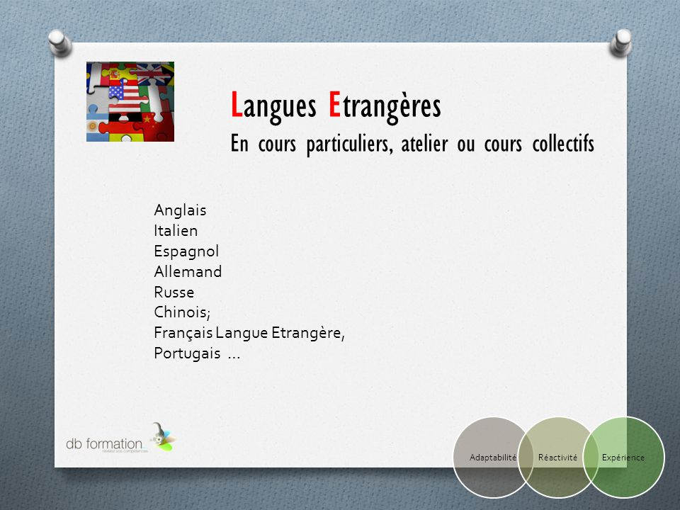 Langues Etrangères En cours particuliers, atelier ou cours collectifs