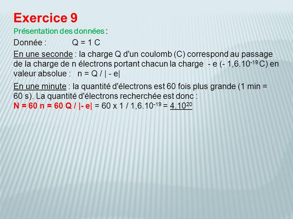 Exercice 9 Présentation des données : Donnée : Q = 1 C